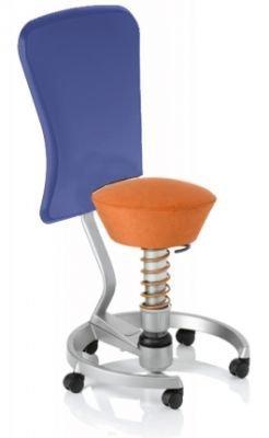 Aeris Swopper Classic - Bezug: Microfaser / Terracotta | Polsterung: Tempur | Fußring: Titan | Spezial-Rollen für Teppichböden | mit Lehne und blauem Microfaser-Lehnenbezug | Körpergewicht: MEDIUM