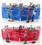 Western Rodeo Deluxe Playset - Bullriders, Clowns, Red / Blue Fence Assorted (One RED Playset or One BLUE playset)