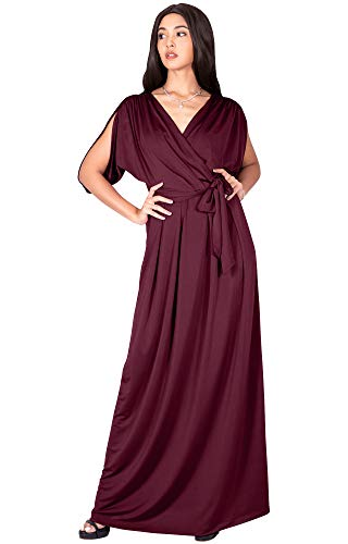 KOH KOH Plus Size Womens Long Semi-Formal Short Sleeve V-Neck Full Floor Length V-Neck Flowy Cocktail Wedding Guest Party Bridesmaid Maxi Dress Dresses Gown Gowns, Maroon Wine Red 3XL 22-24