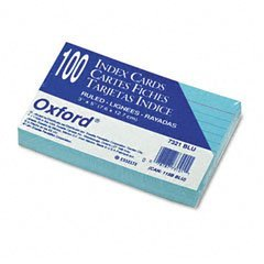 Oxford 7321BLU -Colored Ruled Index Cards, 3 x 5, Blue, 100/Pack
