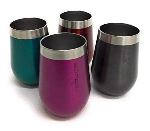 REDUCE Stemless Wine Tumbler Set, 4 Pack - 12oz Stainless Steel Vacuum Insulated Tumblers - Enjoy Your Drink at the Perfect Temperature - 4 Colors, Ideal for an Outdoor Cocktail, Soda or Water
