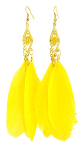 Natural Feather Jewelry Earrings (Yellow Long Three Feather Earrings, Feather Dangle Earrings)