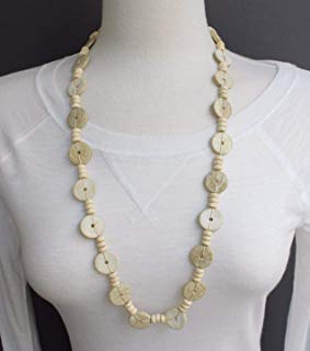 Cream wood disc chunky bead 30 long necklace beaded wooden lightweight