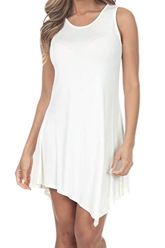 7008 Womens Sleeveless Flowy Tops Handkerchief Hem Tunic Shirts Loose Dress Off-White L