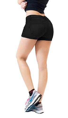 Womens Butt lifting Twill Denim Shorts SH43300 Black 1 (Butt Lifting Shorts)