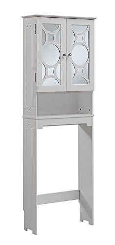 - RunFine RFBW12301 Etagere, 2 Glass Doors with 1 Adjustable Shelf, Open Storage Space and 2 Post Legs, Chrome Hardware