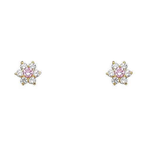 (14k Yellow Gold Flower Stud Earrings with Screw)