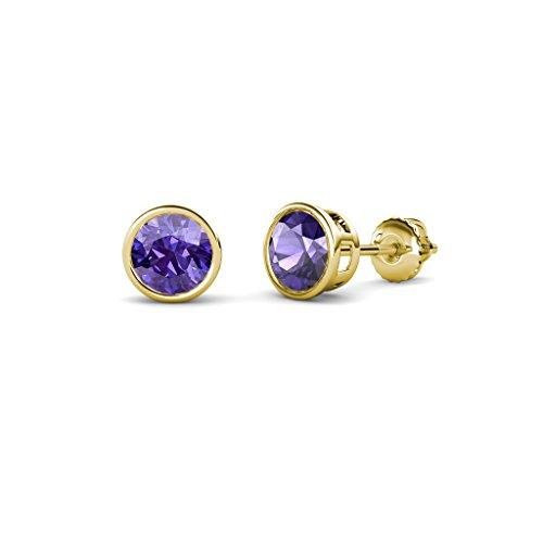 Iolite Bezel Set Solitaire Stud Earrings 0.80 cttw in 14K Yellow Gold