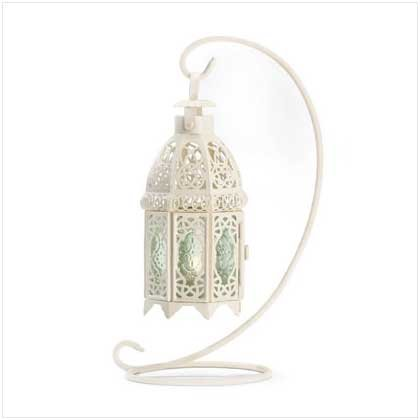 - Gifts & Decor White Fancy Antique Lattice Candle Lantern with Stand