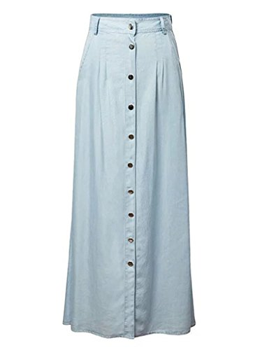 Joeoy Women's High Waist Button Up A-Line Denim Maxi Long Skirt
