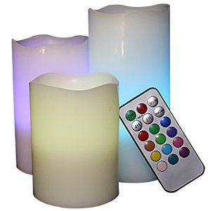Price comparison product image Decor Hut Flam-less Pilar Candle with Remote,  12 Color Changing Options,  LED Flickering or Stay on Wic,  with Timer,  Great Parties, wedding & Decor