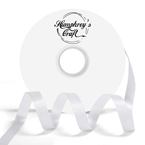 Humphrey's Craft 1/2-inch Double Face Solid Satin Ribbon 100% Polyester Ribbon Roll-50 Yard (Off White)