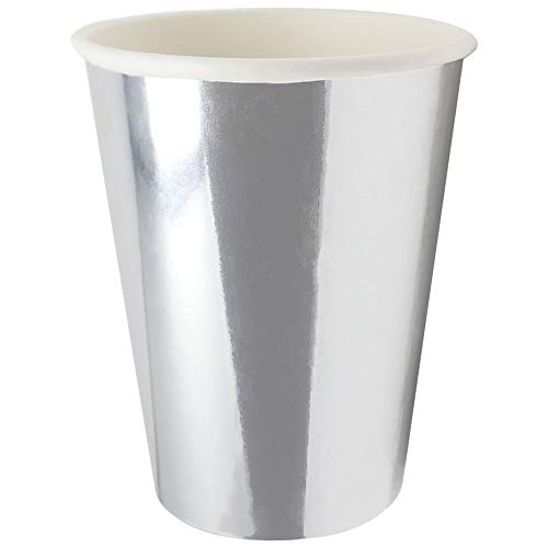 Just Artifacts Solid Metallic Party Paper Cups (24pcs, Silver)