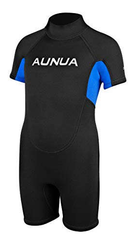 - Aunua Children's 3mm Youth Swimming Suit Shorty Wetsuits Neoprene for Kids Keep Warm(7035 BlackBlue 4)