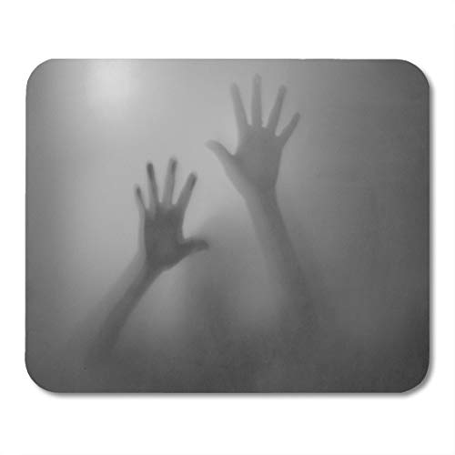 Emvency Mouse Pads Horror Shadow of Hands Behind Frosted Glass Scary Silhouette Abuse Mouse pad 9.5