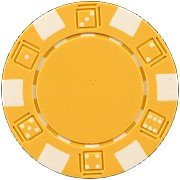DA VINCI 50 Clay Composite Dice Striped 11.5-Gram Poker Chips (Yellow) ()