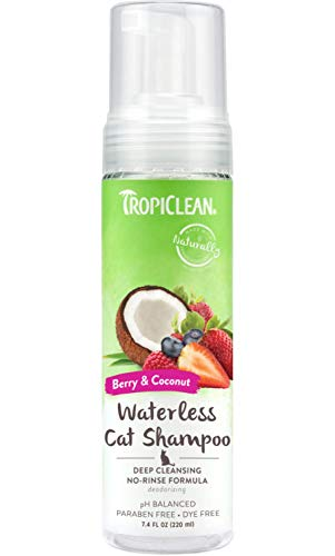 TropiClean Waterless Deep Cleaning Shampoo for Cats, 7.4oz, Made in USA