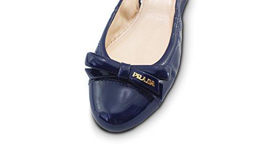 Prada Kvinners Patent Lær Logo Bow Knuse Ballett Flat, Navy