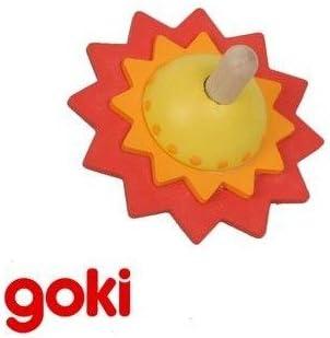 Jaune Goki Grande Toupie fleurs en bois 7,5 cm Jouet pour enfant 4 ans