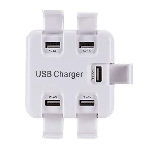 (Jammas 5 Ports Multi USB Charger Smart Sockets Electrical Plug Multi-hub Adapter USB Charging Station Dock Universal for iPhone Samsung - (Standard: EU Plug))