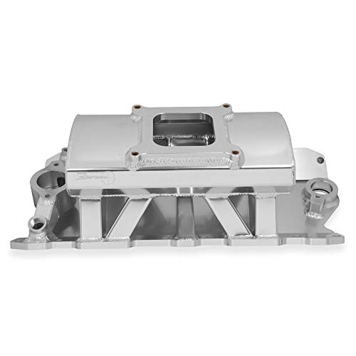 Holley 825011 Holley Sniper Fabricated Intake Manifold Single Plane Carbureted RPM Power Band 1800-7000 Silver w/Sniper Logo Holley Sniper Fabricated Intake Manifold