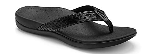 Vionic Women's Tide Sequins Toe Post Sandals - Ladies Flip Flop Sandals with Concealed Orthotic Arch Support Black 7 M US
