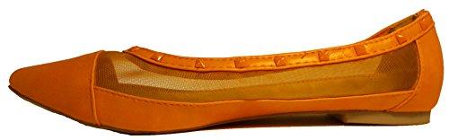 Pfiffige Ballerinas, gelb, orange, schwarz oder khaki, transparent mit Durchblick, topmodern, Größe 38; Damenschuhe, BAL008, Schuh für Damen, ein echter Hingucker-Schuh, hier: Orange.