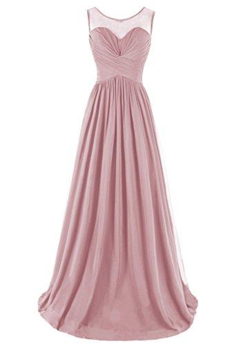 Dresstore Women's Chiffon Bridesmaid Dress Sheer Neck Prom Evening Gowns Blush US 2
