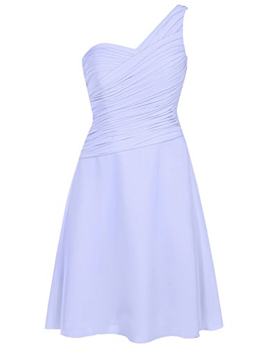(EDressy One Shoulder Bridesmaid Dresses Short Chiffon Prom Homecoming Dress Party Formal Gowns Lilac US 28W)