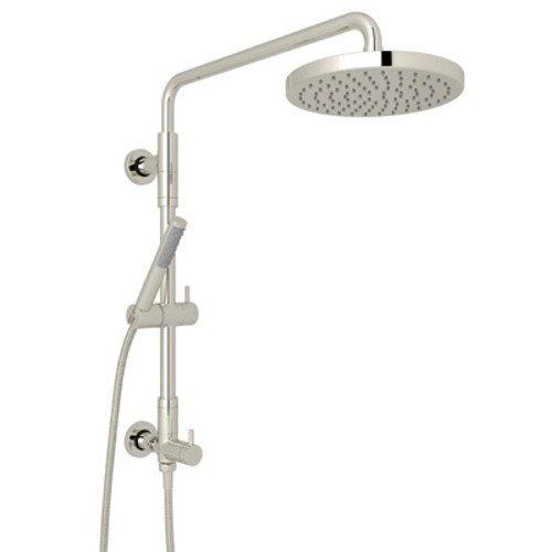 ROHL L0095KIT1PN Retro-Fit Shower Column Riser with Diverter/Handshower/Hose/Showerhead Set, Polished Nickel