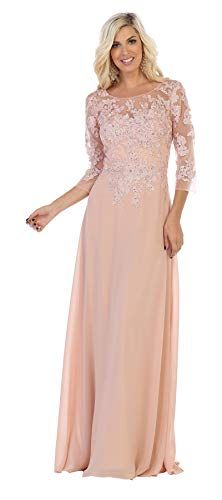 Formal Dress Shops Inc FDS1637 Mother of The Bride Embroidered Gown (Dusty Rose, L)