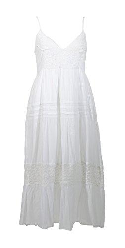 Coline - Robe mi-longue coton unie - Couleur : Blanc - Taille : S