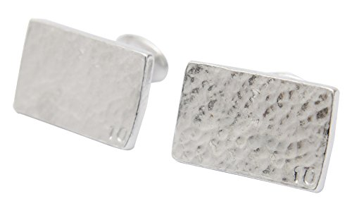 10 Year Anniversary Gift for Him Rectangle Beaten Tin Cufflinks with Small 10. (Tin Anniversary Gift)