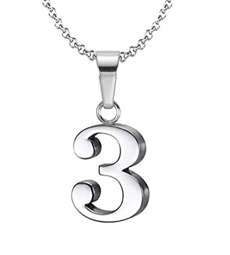 925 Sterling Silver Number 3 Charms Pendant Necklace with Chain (Three)