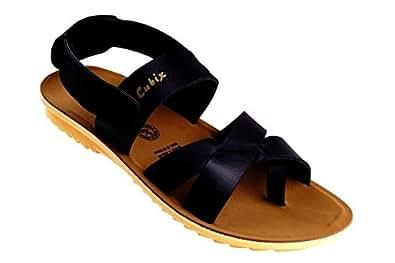 Cubix India Black Flat Sandal For Men