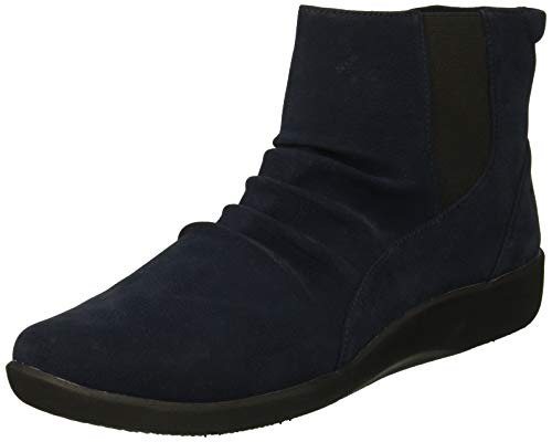 CLARKS Women's Sillian Rima Fashion Boot, Navy Synthetic, 08
