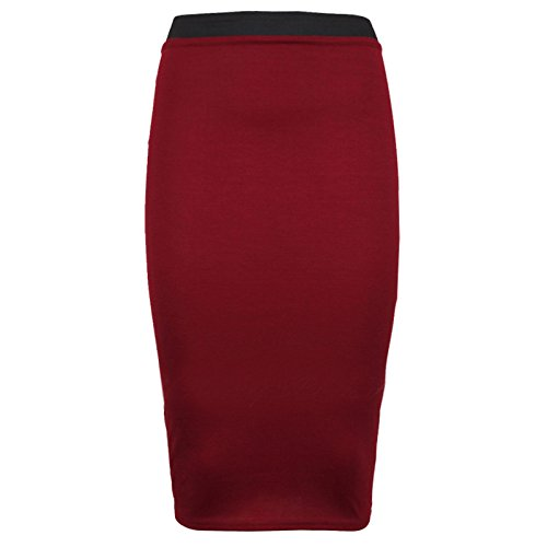 Outofgas Clothing.–Falda Etroite a talla alta estilo ajustado para las mujeres–diseño a rayas y Uni Rot - Rot