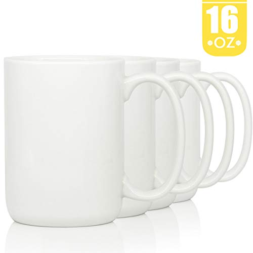 (16 OZ Porcelain Coffee Mugs, Smilatte Classic Blank Ceramic Cup with Large Handle for Tea Latte Cappuccino, Set of 4, White)