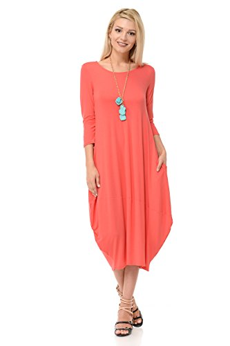 Pastel by Vivienne Women's Cocoon Midi Dress With Pocket Large - Cute Pastel