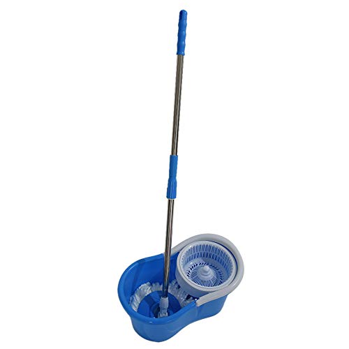 Veryke 360 Spin Head Mop Stretchable with Two MicroFiber Rotary Cleaning Head Stainless Steel (Blue)
