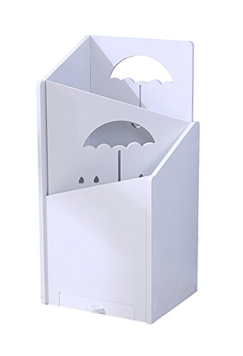 WESTREEL Umbrella Holder Home Office Decor with Hidden Water Tray Eco-Friendly Materials, White