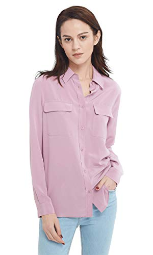 LilySilk Silk Shirts for Women Mulberry Silk Long Sleeve with Breast Pockets-Pale Lilac-M