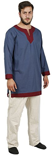 Blue Medieval Knight Costumes (ARTHUR Medieval Tunic by CALVINA COSTUMES - Formen - Made in TURKEY, L-L. Blue)