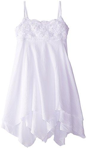 Kate Mack Big Girls' Gauze Hanky Hem Dress, White, 12