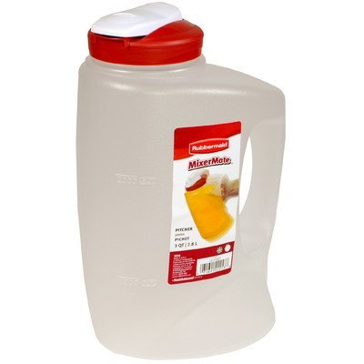 Rubbermaid 071691222552 3-Qt. MixerMate Seal N' Saver Pitcher/Bottle, Red, 3-Quart, ()