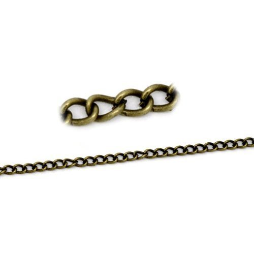 Continuous Length 10 Metres Antique Bronze Plated Alloy 3x4mm Cable Chain - (CH1270) - Charming Beads Something Crafty Ltd