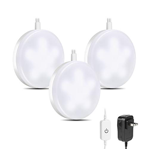 LE LED Puck Lights, Kitchen Under Cabinet Lighting Kit, 510 Lumens, 5000K Daylight White, Night Light, Perfect for Kitchen, Closet, Stairs and More, Pack of 3