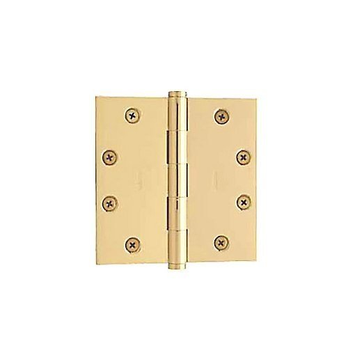 Baldwin 1045.030 Full Mortise 4-1/2-Inch x 4-1/2-Inch Butt Hinge, Polished Brass - Lacquered