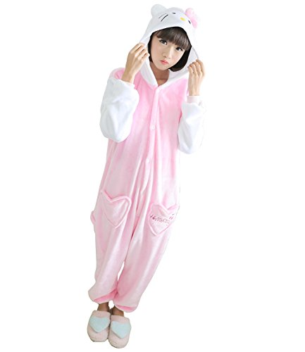 Sensfun Pink Hello Kitty Onesie Soft Flannel Animal Pajamas Cosplay Costumes(Kitty M)
