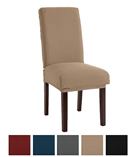 ch Jersey Dining Chair Slipcovers. Protective Covers, Super Fit, Removable and Washable. (Set of 4, Taupe) ()